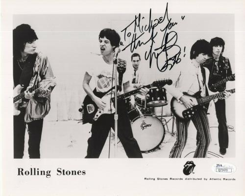 CHARLIE WATTS HAND SIGNED 8x10 PHOTO     STONES GROUP PHOTO     TO MICHAEL   JSA