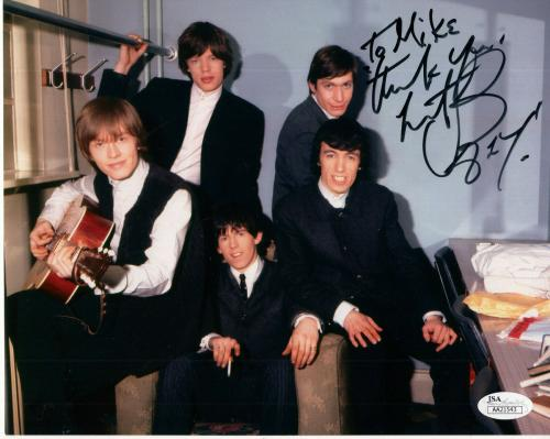 CHARLIE WATTS HAND SIGNED 8x10 PHOTO     STONES GROUP PHOTO      TO MIKE     JSA