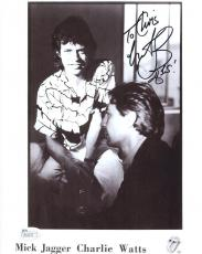 CHARLIE WATTS HAND SIGNED 8x10 PHOTO      TO CHRIS    WITH MICK JAGGER       JSA