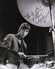 Charlie Watts Rolling Stones Autographed Signed 8x10 Photo Certified BAS COA
