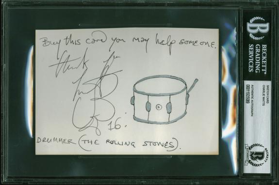 Charlie Watts Rolling Stones Signed 4x6 Drum Sketch BAS Slabbed