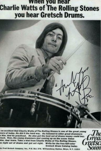 Charlie Watts Signed Autograph 8x10 Photo - Rolling Stones, Goats Head Soup Rare