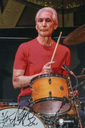 Charlie Watts Signed Autograph 8x12 Photo - The Rolling Stones, Black And Blue