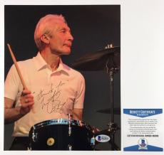 CHARLIE WATTS SIGNED ROLLING STONES 8x10 PHOTO AUTHENTIC BAS BECKETT COA #B62832