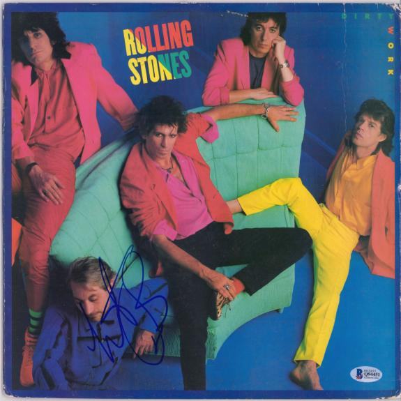 Charlie Watts The Rolling Stones Autographed Dirty Work Album Cover - BAS