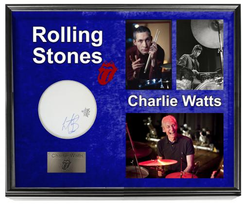 Charlie Watts The Rolling Stones Autographed Drumhead+ Display Shadowbox