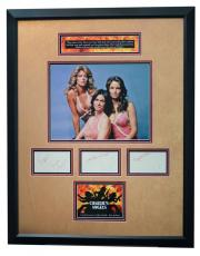 CHARLIE'S ANGELS signed by all 3 cast members custom framed display-JSA