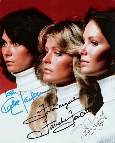 "CHARLIE'S ANGELS"" Signed by JACLYN SMITH as KELLY, KATE JACKSON as SABRINA, and FARAH FAWCETT as JILL 8x10 Color Photo"