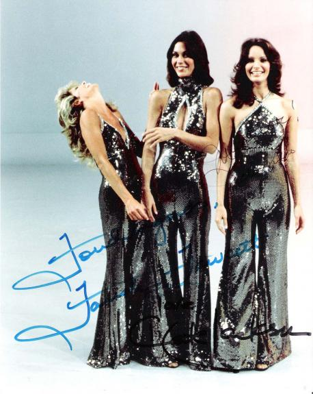 """CHARLIE'S ANGELS"""" Signed by JACLYN SMITH as KELLY, KATE JACKSON as SABRINA, and FARAH FAWCETT as JILL 8x10 Color Photo"""