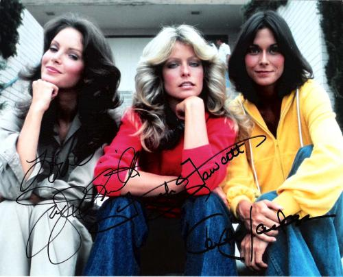 "CHARLIES ANGELS"" Signed by KATE JACKSON as SABRINA, FARAH FAWCETT as JILL, and JACLYN SMITH as KELLY 10x8 Color Photo"