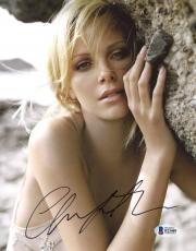 "Charlize Theron Autographed 8"" x 10"" Leaning on Rocks Photograph - Beckett COA"