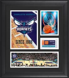 "Charlotte Hornets Team Logo Framed 15"" x 17"" Collage with Team-Used Baseketball"