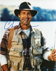 Chevy Chase Autographed 8'' x 10'' Fishing Photograph