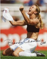 Brandi Chastain Autographed 8'' x 10'' World Cup On Knees Photograph