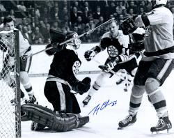 """Gerry Cheevers Boston Bruins Autographed 16"""" x 20"""" Action Shot with Mask Photograph"""