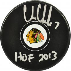 Chris Chelios Chicago Blackhawks Autographed Logo Puck with HOF 13 Inscription - Mounted Memories