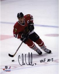 Chris Chelios Chicago Blackhawks Autographed 8'' x 10'' Skating Photograph with HOF 13 Inscription - Mounted Memories