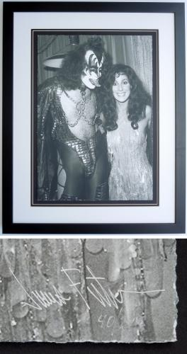 Cher and Gene Simmons - James Fortune Limited Edition Fine Art Giclee Lithograph Photo Print - Black FRAME 22x28 inches - Custom FRAMED - Guaranteed to pass PSA or JSA