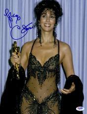 "Cher Autographed 11"" x 14"" Holding Oscar Award Photograph - PSA/DNA COA"