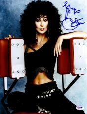 "Cher Autographed 11"" x 14"" Sitting On Workout Machine Photograph - PSA/DNA COA"