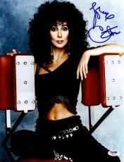 "Cher Autographed 11"" x 14"" Sitting On Workout Machine Photograph - PSA/DNA COA"