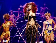 """Cher Autographed 11""""x 14"""" Black & Gold Sparkled Dress Photograph - PSA/DNA COA"""