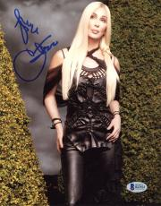"Cher Autographed 8"" x 10"" Posing in Black Dress Photograph - Beckett COA"
