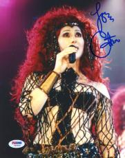 "Cher Autographed 8""x 10"" Holding Microphone Photograph - PSA/DNA COA"