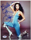 "Cher Autographed 8""x 10"" Silver Boots Photograph - PSA/DNA COA"