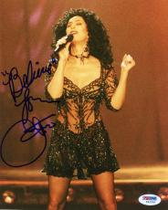 """Cher Autographed 8""""x 10"""" Singing With Eyes Closed Photograph - PSA/DNA COA"""