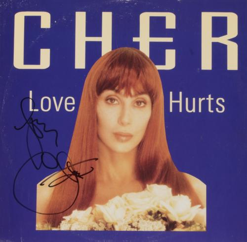 Cher Autographed Love Hurts Album Cover - PSA/DNA COA