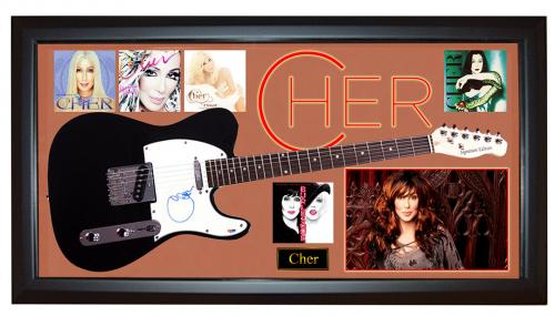 Cher Autographed Signed Tele Guitar + Custom Display PSA DNA AFTAL