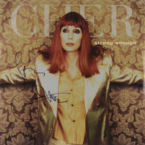 Cher Autographed Strong Enough Album Cover - PSA/DNA COA