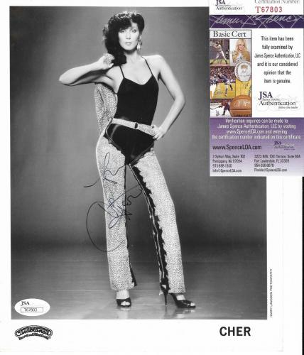 Cher Music Legend Signed Autographed B/w Promo 8x10 Photo Jsa Coa #t67803 Rare