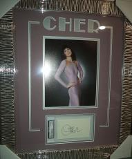 Cher Music Legend Signed Autographed Double Matted & Framed Psa Dna Auth Rare A