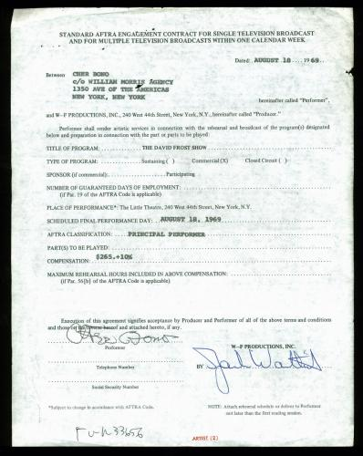 Cher Signed 1969 David Frost Show Principal Performer Contract BAS #D07782