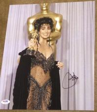 Cher Signed Autograph Vintage Sexy Oscars Dress Smile 11x14 Photo Psa/dna W94444