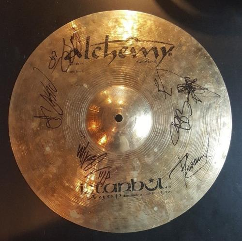 Chester Bennington +5 Linkin Park Band Signed Concert USED Cymbal BAS AUTHENTIC