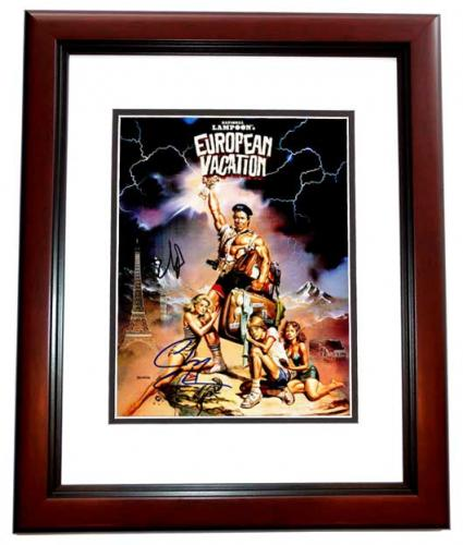 Chevy Chase and Beverly D'Angelo Signed - Autographed European Vacation 11x14 inch Photo MAHOGANY CUSTOM FRAME - Guaranteed to pass PSA or JSA - Clark Griswold