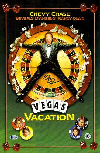 "Chevy Chase Autographed 12""x 17"" National Lampoon's Vegas Vaction Movie Poster - BAS COA"