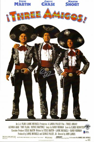 "Chevy Chase Autographed 12""x 17"" Three Amigos Movie Poster - BAS COA"