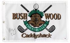 Chevy Chase Autographed Caddyshack Bushwood Logo Golf Flag