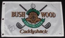 Chevy Chase Autographed Caddyshack Golf Flag W/ Proof! - Psa Dna!