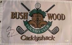 Chevy Chase Autographed Signed Caddyshack Golf Flag Jsa Coa