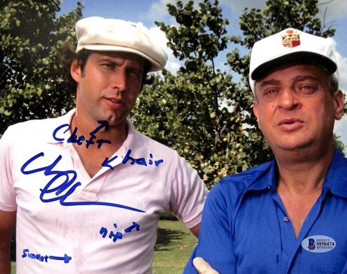 """Chevy Chase Caddyshack """"Cleft, Hair, Nip & Sweat"""" Signed 8x10 Photo BAS #M50474"""
