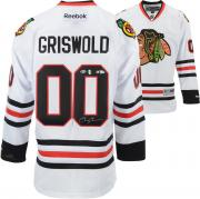 Chevy Chase Christmas Vacation Autographed White Clark Griswold Blackhawks Jersey - BAS