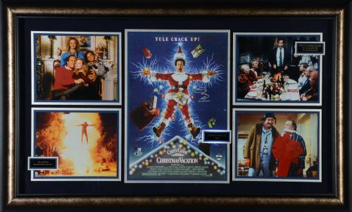 """Chevy Chase Christmas Vacation Framed Autographed 44"""" x 28"""" Movie Collage - BAS"""