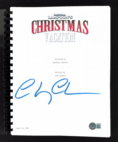 Chevy Chase Christmas Vacation Signed Movie Script BAS Witnessed