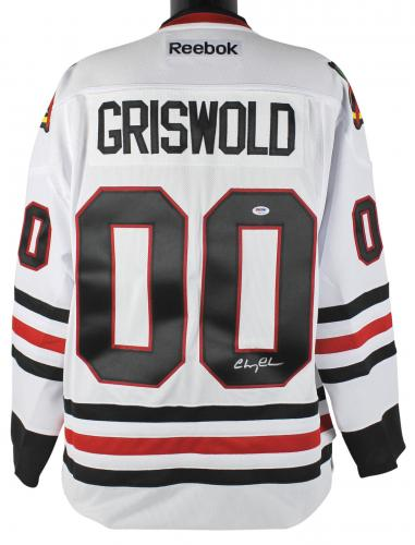Chevy Chase Christmas Vacation Signed White Reebok Blackhawks Jersey PSA/DNA Itp