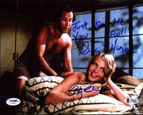 Chevy Chase & Cindy Morgan Caddyshack Signed 8X10 Photo BAS Witness 2